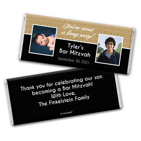 Bar Mitzvah Personalized Chocolate Bar Wrappers Then & Now Photos