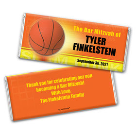 Bar Mitzvah Personalized Chocolate Bar Wrappers Basketball Sport