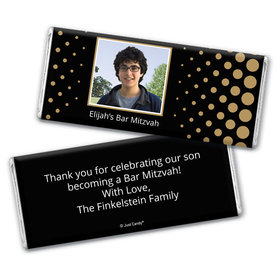 Bar Mitzvah Personalized Chocolate Bar Wrappers Faded Dots