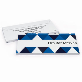 Deluxe Personalized Bar Mitzvah Triangle Pattern Chocolate Bar in Gift Box