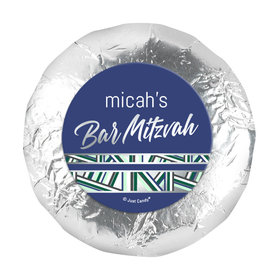 "Personalized Bar Mitzvah Symbolic Stripes 1.25"" Sticker (48 Stickers)"