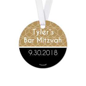 Personalized Round Pattern Bar Mitzvah Favor Gift Tags (20 Pack)