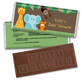 Baby Shower Personalized Embossed Chocolate Bar Jungle Safari Animals