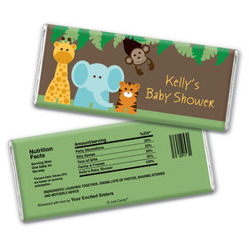 Baby Shower Personalized Chocolate Bar Jungle Safari Animals