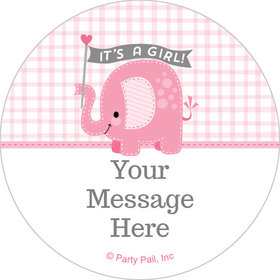 "Umbrellaphants Pink Girl Personalized 2"" Stickers (20 Stickers)"