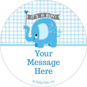 "Umbrellaphants Blue Boy Personalized 2"" Stickers (20 Stickers)"