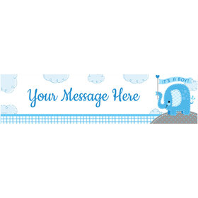 Personalized Umbrellaphants Blue Boy Banner