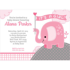 Umbrellaphants Pink Girl Personalized Invitation