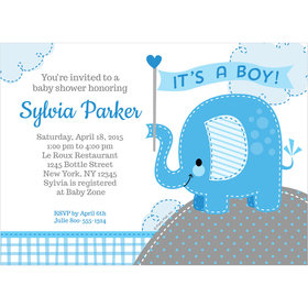 Umbrellaphants Blue Boy Personalized Invitation