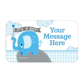 Umbrellaphants Blue Boy Personalized Rectangular Stickers (18 Stickers)