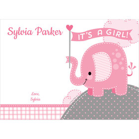 Umbrellaphants Pink Girl Personalized Thank You Note