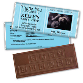 Baby Shower Personalized Embossed Chocolate Bar Stripes Sonogram Photo