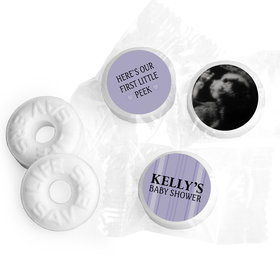 Baby Shower Personalized Life Savers Mints Stripes Sonogram Photo