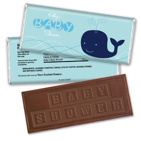 Baby Shower Personalized Embossed Chocolate Bar Whale