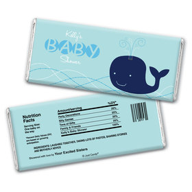 Baby Shower Personalized Chocolate Bar Wrappers Whale