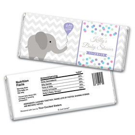 Baby Shower Personalized Chocolate Bar Wrappers Chevron Dots Elephant