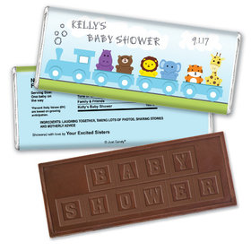 Baby Shower Personalized Embossed Chocolate Bar Safari Animal Train