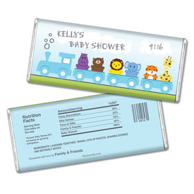 Baby Shower Personalized Chocolate Bar Safari Animal Train
