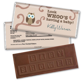 Baby Shower Personalized Embossed Chocolate Bar Whoo Owl