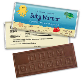 Baby Shower Personalized Embossed Chocolate Bar Ocean Octopus Deep Sea Bubbles