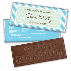 Baby Shower Personalized Embossed Chocolate Bar Polka Dot Stripes