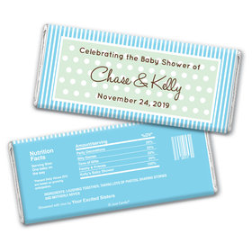 Baby Shower Personalized Chocolate Bar Wrappers Polka Dot Stripes