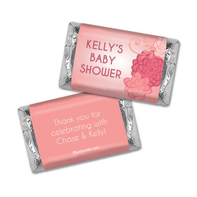 Baby Shower Personalized Hershey's Miniatures Wrappers Pink Flowers