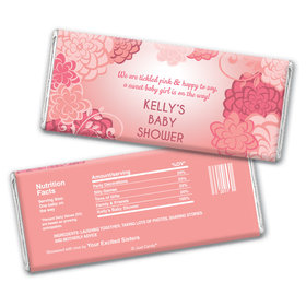 Baby Shower Personalized Chocolate Bar Wrappers Pink Flowers
