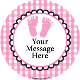 "Sweet Baby Feet Pink Personalized 2"" Stickers (20 Stickers)"
