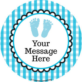 "Sweet Baby Feet Blue Personalized 2"" Stickers (20 Stickers)"