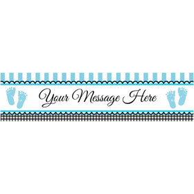 Personalized Sweet Baby Feet Blue Banner