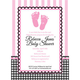 Sweet Baby Feet Pink Personalized Invitation
