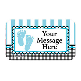 Sweet Baby Feet Blue Personalized Rectangular Stickers (18 Stickers)