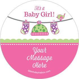 "Shower with Love Girl Personalized 2"" Stickers (20 Stickers)"
