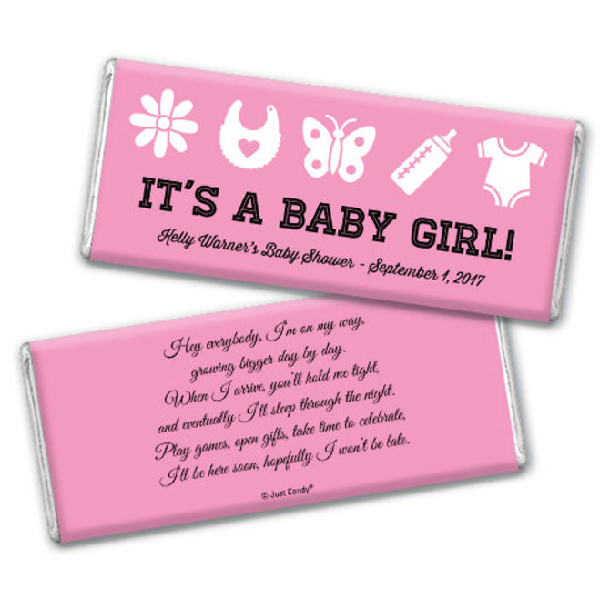 Oh Baby It/'s A Girl Date Collapsible Fabric Baby Shower Can Cooler Double Side Print BS24