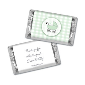 Baby Shower Personalized Hershey's Miniatures Wrappers Gingham Carriage