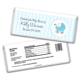 Baby Shower Personalized Chocolate Bar Wrappers Gingham Carriage