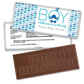 Baby Shower Personalized Embossed Chocolate Bar Mustache Bash
