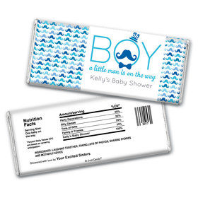 Baby Shower Personalized Chocolate Bar Wrappers Mustache Bash