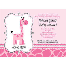 Sweet Safari Girl Personalized Invitation