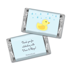 Baby Shower Personalized Hershey's Miniatures Wrappers Duck Rain Shower