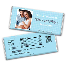 Baby Shower Personalized Chocolate Bar Wrappers Gingham Photo
