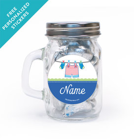 Shower with Love Boy Personalized Mini Mason Jar 12 Pack