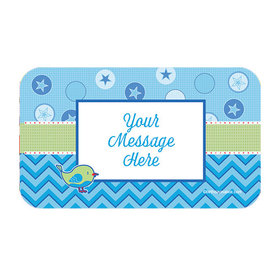 Shower with Love Boy Personalized Rectangular Stickers (18 Stickers)