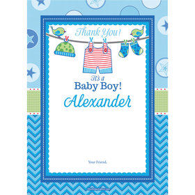 Shower with Love Boy Personalized Thank You Note