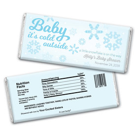 "Baby Shower Personalized Chocolate Bar Wrappers ""Baby It's Cold Outside"" Snow"