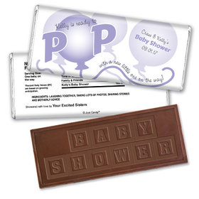 Baby Shower Personalized Embossed Chocolate Bar About to Pop Balloons