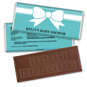 Baby Shower Personalized Embossed Chocolate Bar Tiffany Bow Theme
