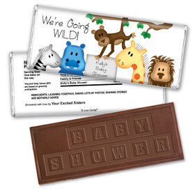 Baby Shower Personalized Embossed Chocolate Bar Going Wild Jungle Animals