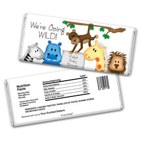 Baby Shower Personalized Chocolate Bar Wrappers Going Wild Jungle Animals
